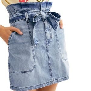 Free People Splendor in the Grass denim jean skirt